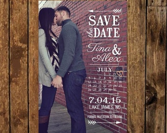 diy personalized photo save the date rustic calendar vintage