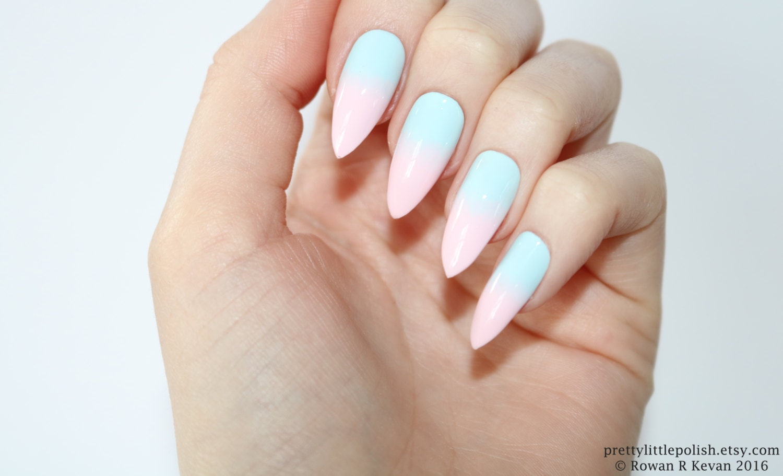 Stiletto nails, Pastel ombre stiletto nails, Fake nails, Press on ...