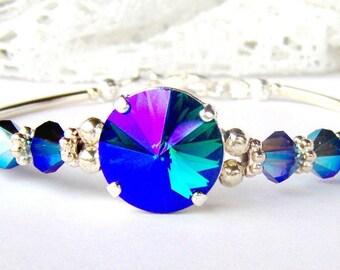 Emerald glacier blue rhinestone bracelet . Swarovski crystal bracelet . Birthday Gift for her . Girlfriend gift Blue Green Purple Unique
