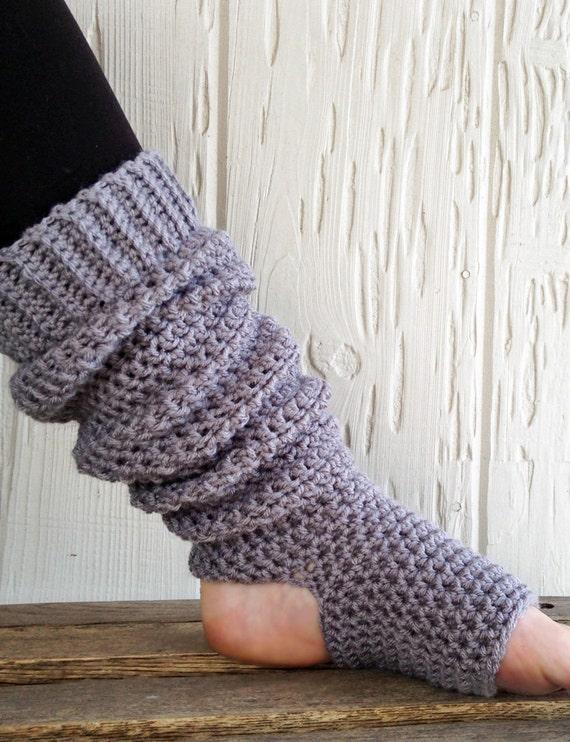 Handcrafted Extra Long Yoga Socks Slouchy Leg Warmers Gray