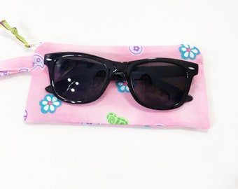 Pink/ Flowers/Butterflies Girls' Zippered Pouch~ Little Lia Sunglasses Pouch ~ Free Shipping in US