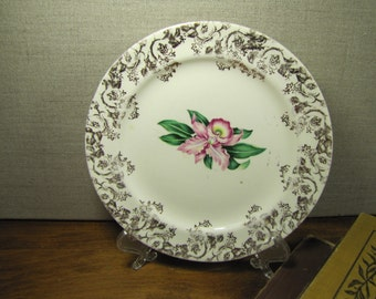 Paden City Pottery - Vintage Dessert Plate - Pink Iris - Green Leaves - Gold Accent