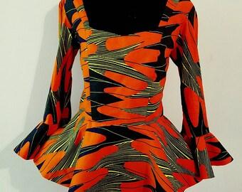 Ankara peplum top. African print  blouse. Peplum top. Women top. Ankara peplum blouse with bell sleeves.