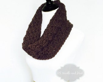 Brown Crochet Cowl, Chocolate Brown Neck Warmer, Short Infinity Scarf, Textured Cowl -  Dark Brown