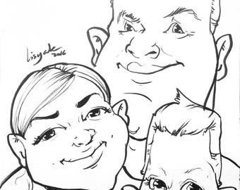 Custom family caricature for 3 people in Black&white. Best as wedding/ baby shower/ anniversary/ mother's day/ christmas/ groomsmade gift.