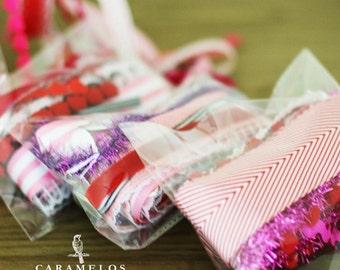 10 yards of Valentines ribbon grab bag in 1 yard lengths