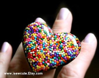 Candy Jewelry, 100s & 1000s, Rainbow Candies Resin and Sprinkles Nonpareils Sweet-looking Giant Resin Heart Ring Handcrafted by isewcute