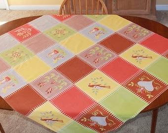 Vintage Wilendure Penn-Dutch Folk Art Tablecloth, 53 x 48, Patchwork Quilt Design