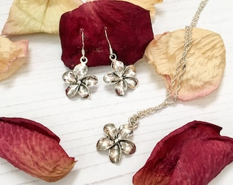 Flower Jewelry Set, Sterling Silver Jewelry, Matching Necklace Set, Gift Idea, Floral Jewelry, Dainty Jewelry, Anniversary Gift, Flower Set