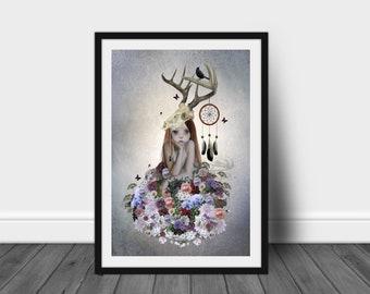 Country Flower Girl   Pop Surrealism   Art Print   Floral Girl   Flower Bouquet   Flower Lover Art   The Collector