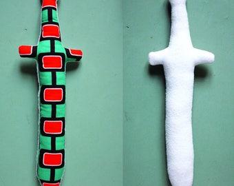 doudou jouet épée en tissu pour chevaliers en herbe - version orange