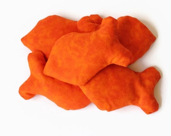 Bright Orange Goldfish Shaped Bean Bags Child's Fish Toy Party Toss Game Rice-filled (set of 5) - US Shipping Included