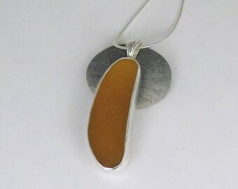 Honey Amber Sea Glass Bezel Pendant Necklace Maine