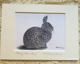 Petoskey Stone Bunny - mini art print (reproduction), matted 5 x 7.