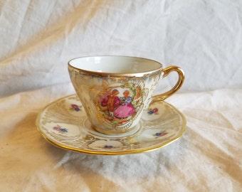 Zeh Scherzer Bavaria germany Tea cup saucer demitasse Boy girl dancing hand painted