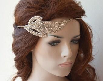 Rhinestones Leaf Headband, Bridal Headband, Wedding Headband, Wedding Hair Accessory, Bridal Hair Accessories
