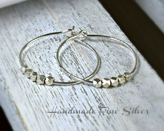 Sterling Silver Hoop Earrings With Karen Hill Tribe Fine Silver Beads - Medium Sized Hoops - Gift For Her