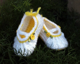 Mary Jane Baby Shoe Crochet With Rosette