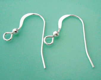 Bright Sterling Silver (20 units) Flat French Ear-wires (10 sets) Findings