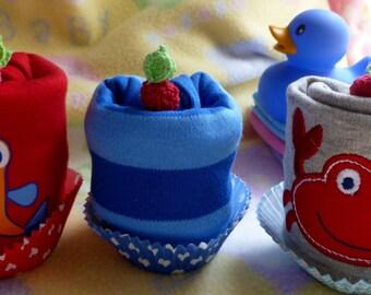 Nautical Romper Onesie Bodysuit, Crab, Fish or Stripe..100% Soft Cotton..Nautical Baby Shower...Baby Gift..Onesie Cupcake :)