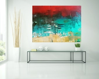 Abstract image, blue, red, turquoise, acrylic, painting, art, painting, blue, red, original art by Camilla Schima