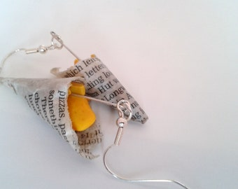 Fish and Chips in Newspaper Earrings