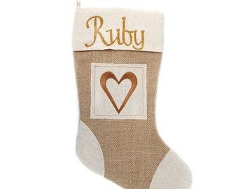 Personalised Burlap Heart Christmas Stocking