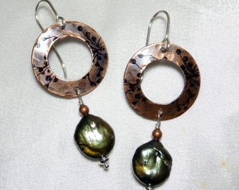 Antiqued Copper Earrings with Inked Berries and Freshwater Pearls