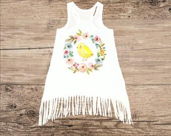 Fringe Dress for Baby, Toddler Dress, Easter Chick Flower Wreath