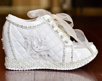 Wedding Shoes. White or Light Ivory Wedge Sneakers Bridal Shoes High Heel Tennis Shoes (Nadia)