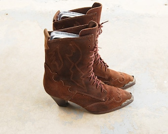 vintage 1980s Leather Granny Boots - 80s Southwestern Lace Up Boots - Victorian Roper Ankle Boots Sz 7 38