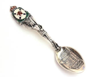Full Figure Indian Spoon Enamel Sterling Souvenir Canada, Lunenburg Academy Nova Scotia, Souvenir Spoon Antique Sterling Demitasse Spoon
