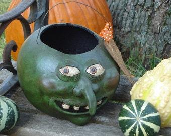 Primitive Folk Art Halloween Toothy Witch Gourd Bucket