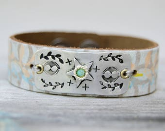 South Western Leather Aluminum Bracelet . Boho Design Artisan Bracelet