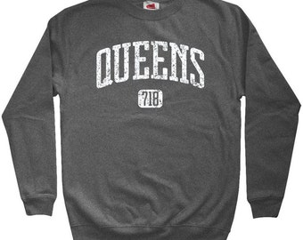 Queens 718 Sweatshirt - Men S M L XL 2x 3x - Crewneck Queens NYC Shirt - New York City - 4 Colors