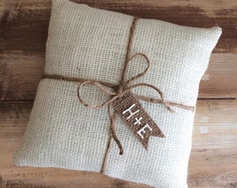Off White Burlap Ring Bearer Pillow With Jute Twine and Burlap Tag- Personalize With Initials or wedding date- 3 Sizes-Rustic