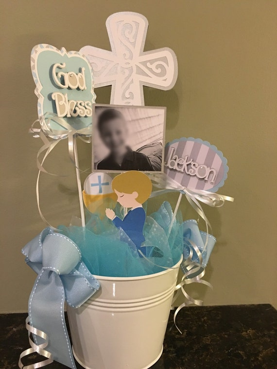 Personalized Baptism Centerpieces, Christening Table Centerpiece Personalized with Names, Photo and God Bless sign