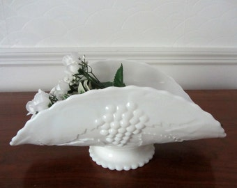 Milk Glass Banana Bowl or Table Centerpiece by L. E. Smith