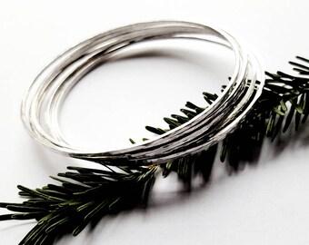Set of 7 Solid Sterling Silver Stacking Bracelets, Hammered Skinny Bangles For Women - Prisms