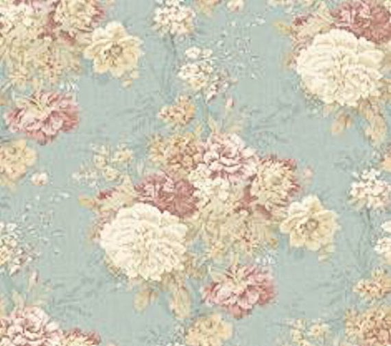 Dollhouse Miniature Shabby Chic Wallpaper Pink And Blue