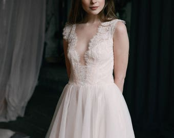 Lace wedding dress // Magnolia / Tulle wedding gown, blush wedding dress, illusion neckline bridal gown, open back wedding dress, boho dress
