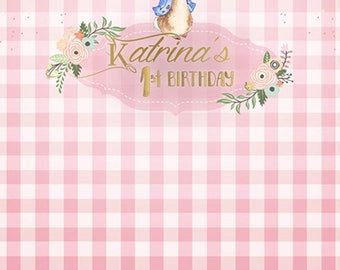 Pink Bunny Photography Backdrop / Banner / Decor (KID-VS-091)