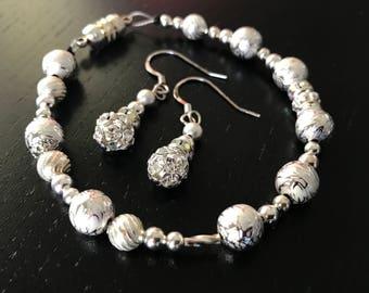 Silver Gem Bracelet and Earrings