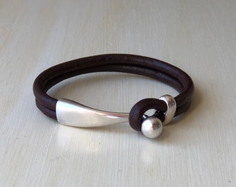 dark BROWN distressed leather with silver ball clasp. LEATHER CUFF bracelet.