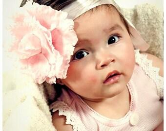 Baby Pink Flower with Satin Headband