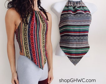 Movenza Crop Top   Adjustable Halter Top, Crop Top, Festival Clothes, Summer Top, Hippie Clothes, Open Back Top, Triangle Top, Aztec Print