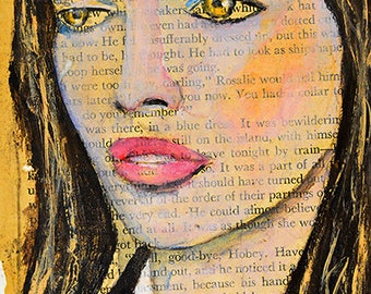 Book Page Art Print. Woman Apartment Decor. Art Gift for Her Home. Woman Portrait Painting Print. Wall Art Prints.