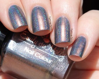 """Nail polish - """"Distant Mood"""" grey linear holo with copper shimmer"""
