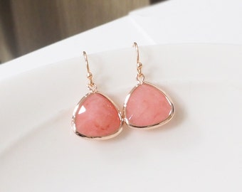 Pink Agate earring, rose gold earrings, Dangle Earrings, Drop Earrings,bridesmaid gifts, wedding jewelry, pink earring, bridesmaids earring