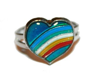 90s Rainbow Heart Mood Ring - vintage Jewelry - 90s Mood Rings Vintage 1990s vintage pride grunge nostalgia Fashion ring